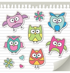set of cartoon owls vector image vector image
