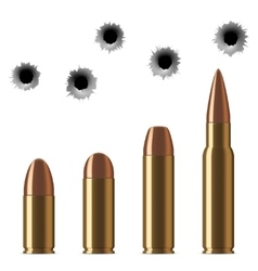 shot gun bullets and bullet holes isolated vector image