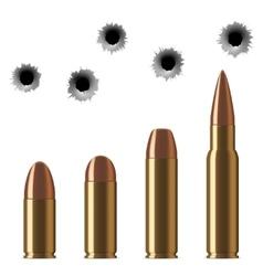 Shot gun bullets and bullet holes isolated vector
