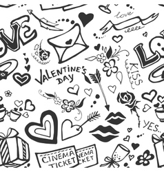 Valentines day doodle pattern vector image vector image