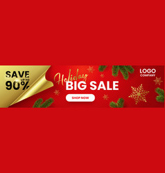 a horizontal web banner big holiday sale vector image