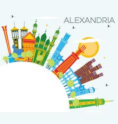 Alexandria egypt city skyline with color vector