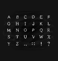 Alphabet on black chalkboard vector