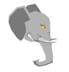Angry elephant head of big aggressive animal with vector