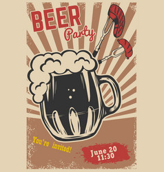 Beer party invitation template beer mug fork with vector