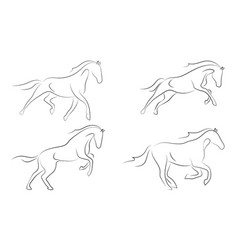 black line horse on white background running vector image