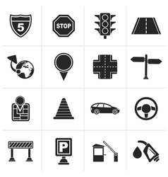 Black Traffic road and travel icons vector image