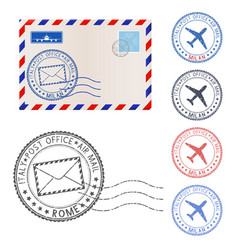 blank envelope and postmark elements vector image