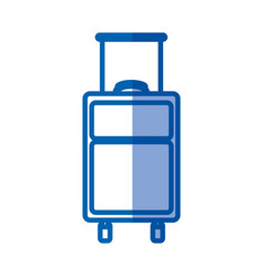 blue shading silhouette of suitcase of traveler vector image