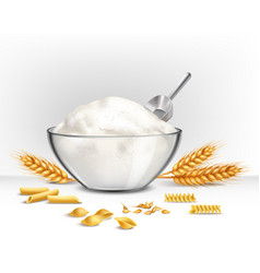 Bowl of wheat flour vector
