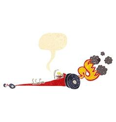 cartoon drag racer with speech bubble vector image