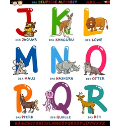 Cartoon german alphabet with animals vector