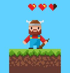 Cavalier character with steel pixel game vector