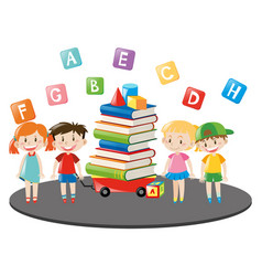 children and wagon full of books vector image