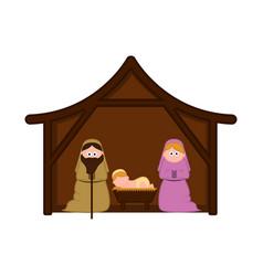 christmas crib with mary joseph and baby jesus vector image