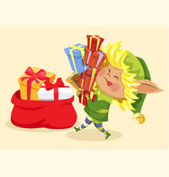 Christmas presents elf with gift boxes and bag vector