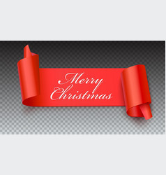 Christmas red banner with greeting text 3d vector