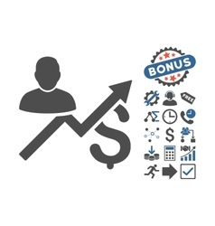 Client Sales Chart Flat Icon With Bonus vector