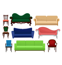 Collection of comfortable furniture set vintage vector