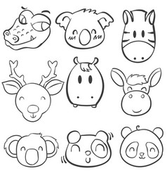 Collection stock animal head hand draw vector