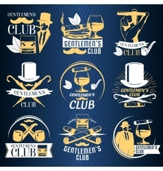 Colored gentlemen club label set vector image