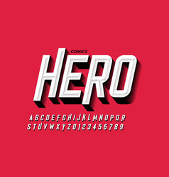 Comics hero style font vector