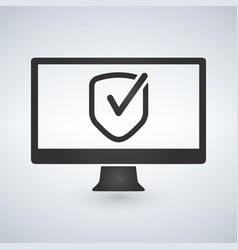Computer approve checkmark in the shield icon vector