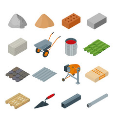 construction material isometric set icon vector image