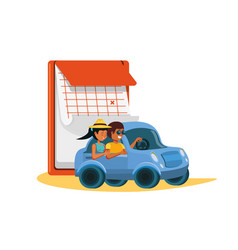 Couple driving tourism little car with calendar vector