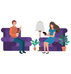 couple sitting in the living room with container vector image