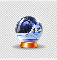 crystal snow globe of winter snowy night landscape vector image