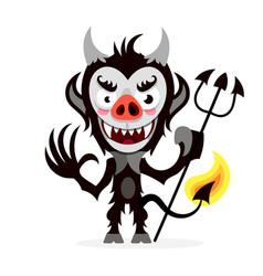 cute cartoon imp funny emotions monsters vector image