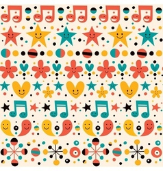 Cute characters fun cartoon pattern vector