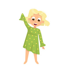 Cute girl wearing pajamas getting ready to sleep vector