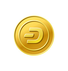 Dash crypto currency golden coin icon vector