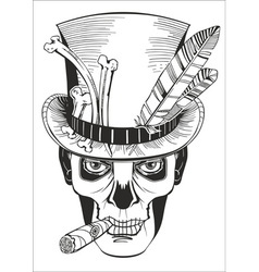 day of the dead baron samedi drawing vector image