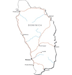 Dominica Black White Map vector image