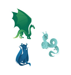 dragon characters with wings whiskers and horns vector image