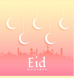 eid mubarak greeting card design with moon and vector image