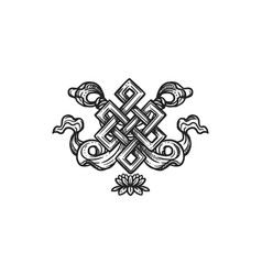 Endless knot buddhism religion symbol sketch vector