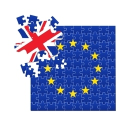 European Union flag divided into jigsaw puzzle vector