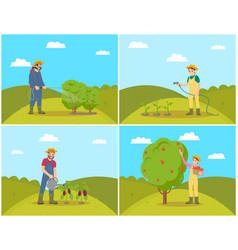 Farmer woman harvesting set vector