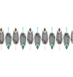 feathers seamless border repeating vector image