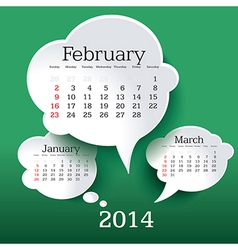 February 2014 bubble speech calendar vector