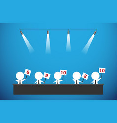 Five businessmen showing score cards vector