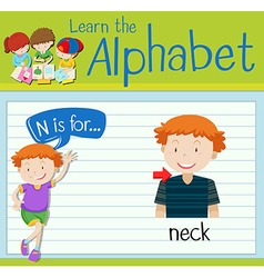 Flashcard letter N is for neck vector