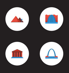 Flat icons great pyramid courthouse waterfall vector