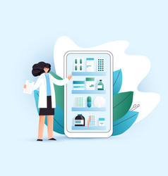 Flat online pharmacy vector