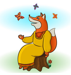 fox and butterflies vector image