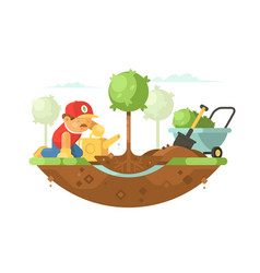 Gardener watering seedling vector